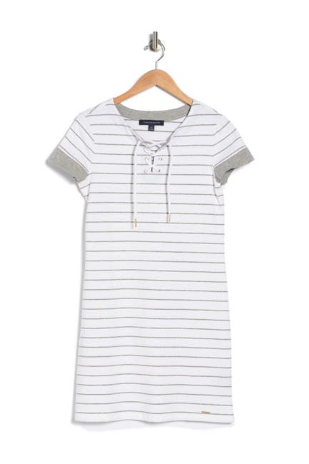 Image of Tommy Hilfiger Striped Lace-Up T-Shirt Dress