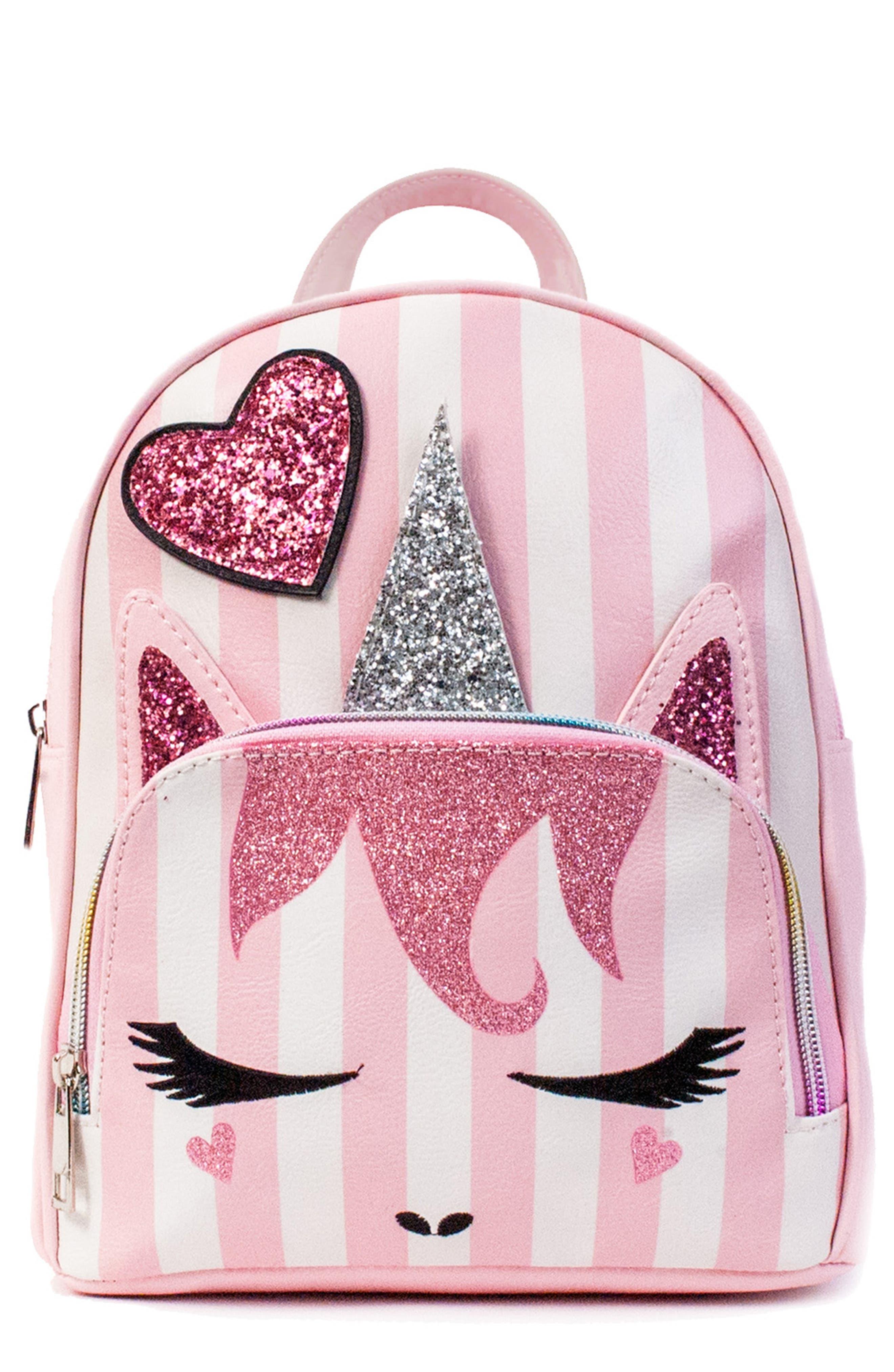 Girls Omg Mini Stripe Unicorn Backpack  Pink