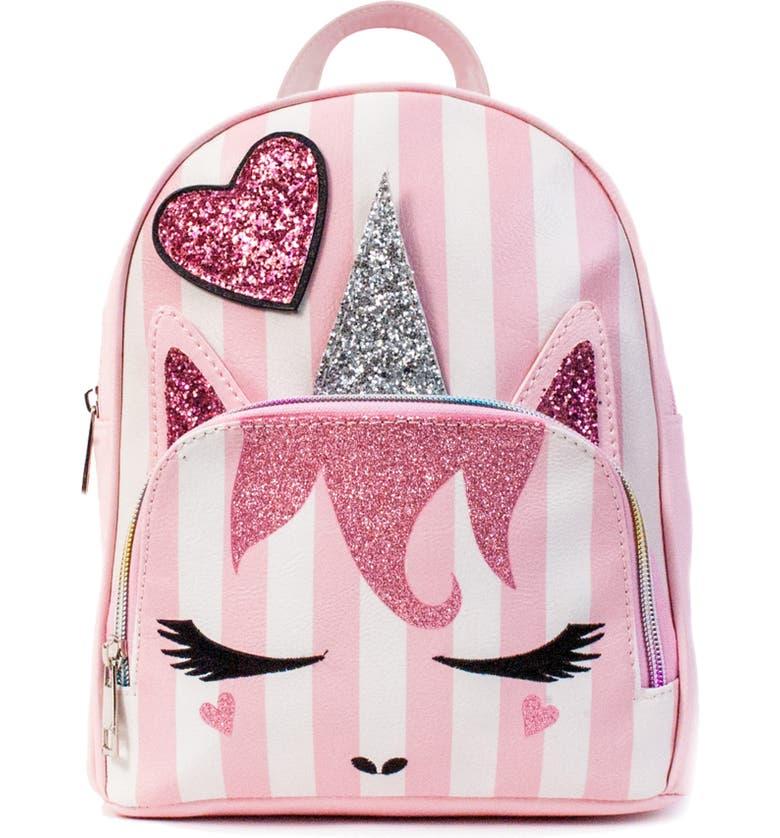 OMG Mini Stripe Unicorn Backpack, Main, color, 650