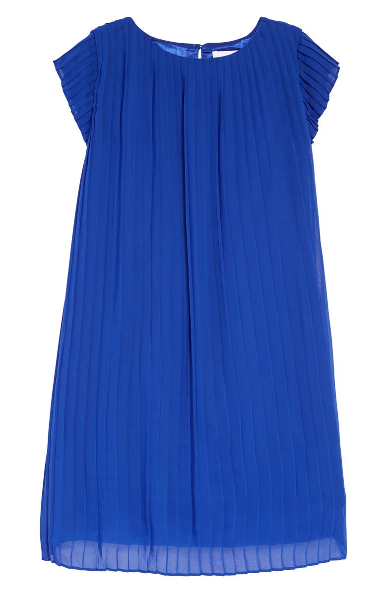 BCBG Girls Pleated Chiffon Dress, Main, color, BLUE