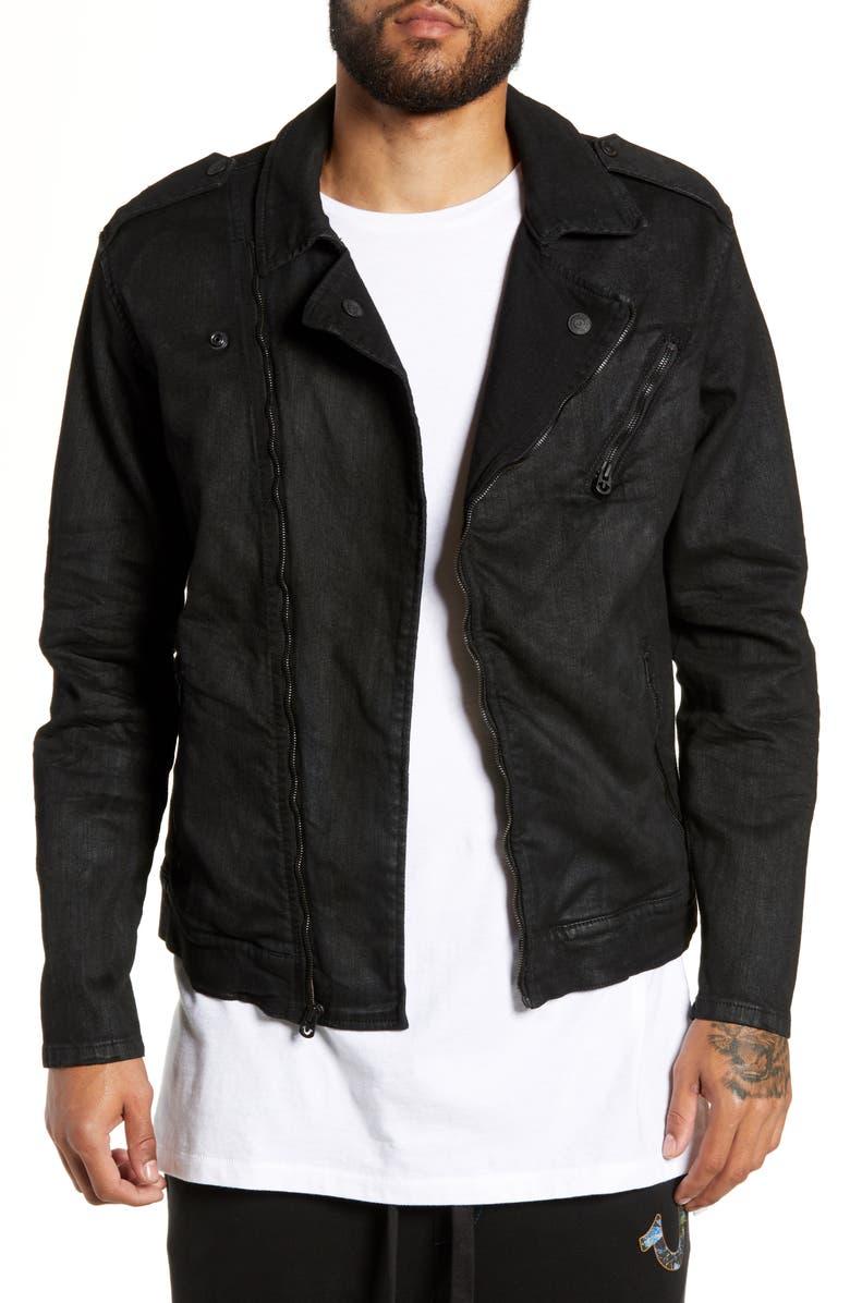 TRUE RELIGION BRAND JEANS City Moto Jacket, Main, color, FOAB MIDNIGHT BLACK COATED