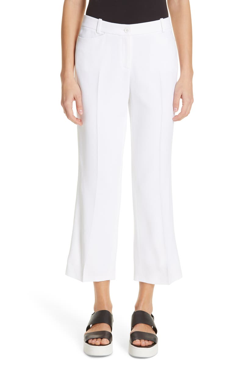 MICHAEL KORS Straight Leg Trousers, Main, color, OPTIC WHITE