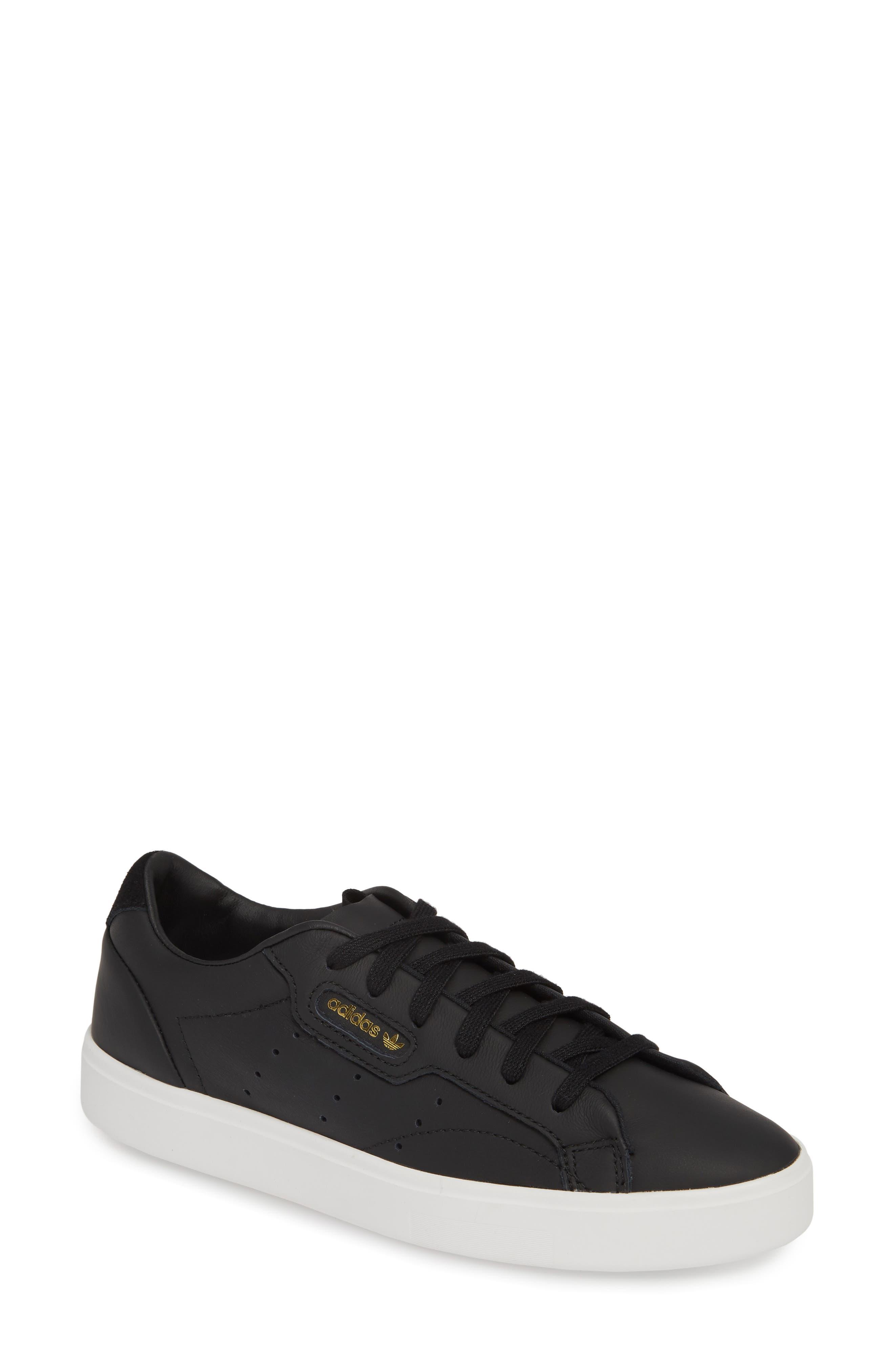 ,                             Sleek Leather Sneaker,                             Main thumbnail 1, color,                             CORE BLACK/ CRYSTAL WHITE