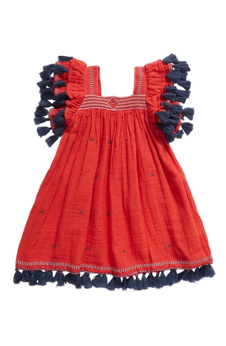 MER ST. BARTH Serena Tassel Sundress, Main, color, RED BLAZE