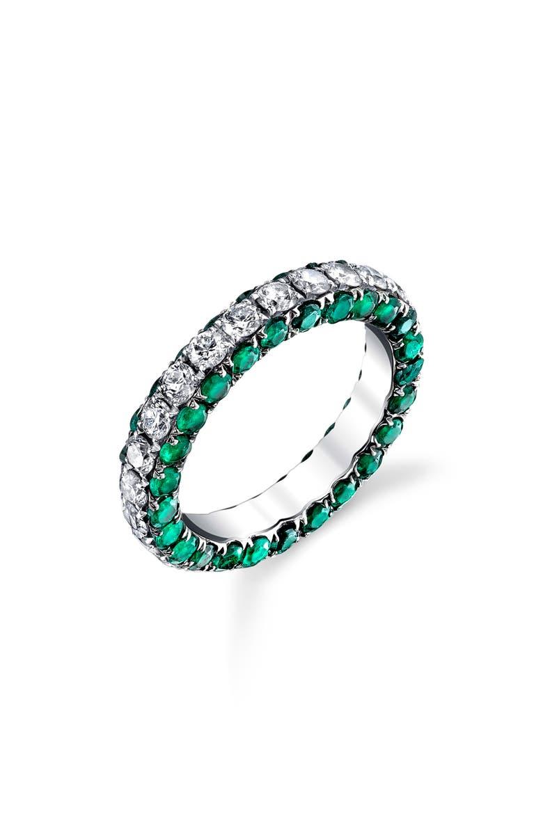 SHAY Diamond & Emerald Eternity Ring, Main, color, 711
