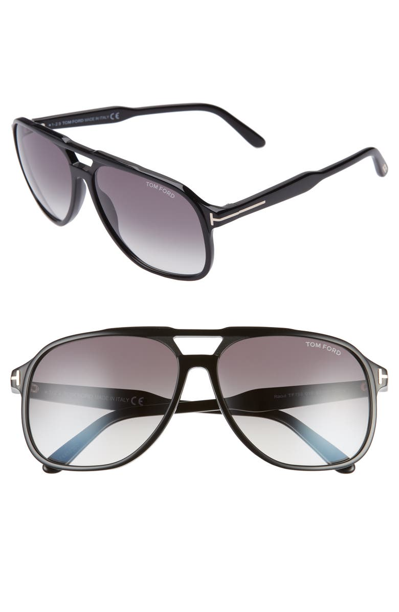TOM FORD Raoul 62mm Gradient Navigator Sunglasses, Main, color, SHINY BLACK/ GRADIENT SMOKE