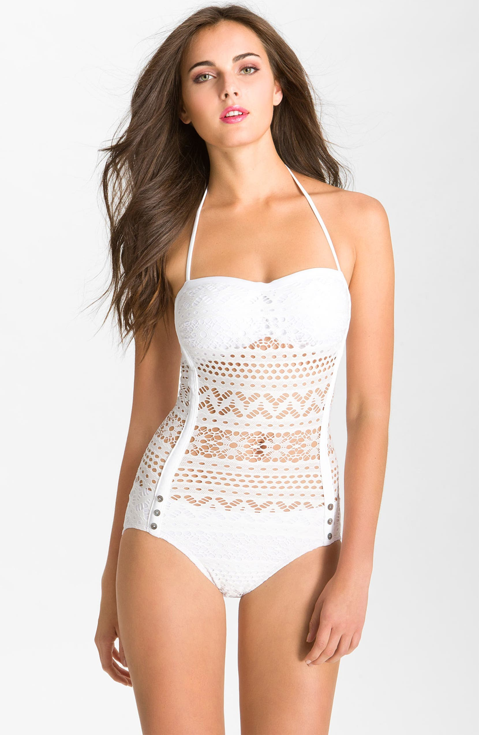 ca3f80f0bd Robin Piccone 'Penelope' Crochet Overlay One-Piece Swimsuit | Nordstrom