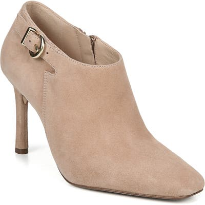 27 Edit Penny Square Toe Buckle Bootie- Beige