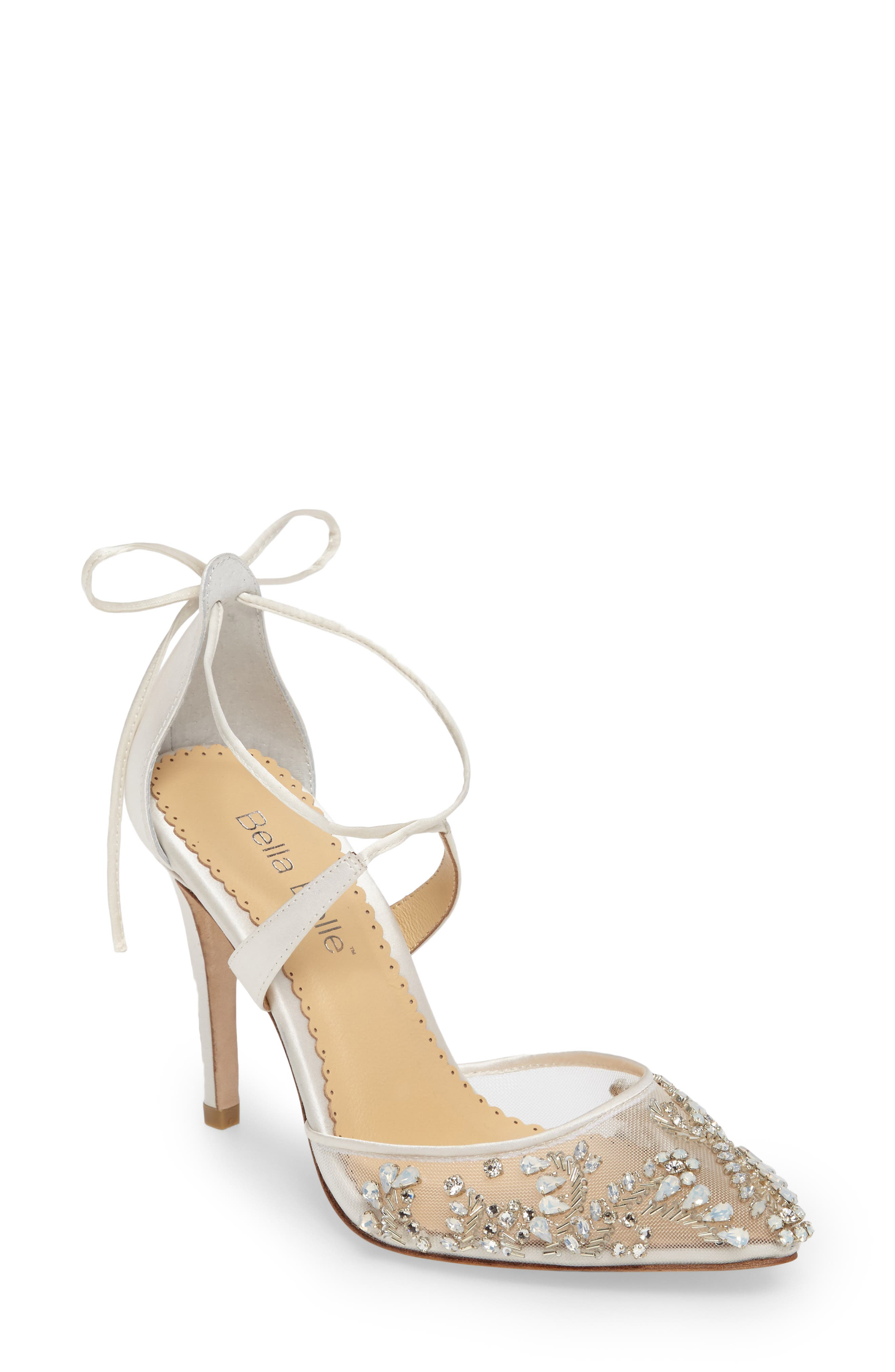 Florence Embellished Bow Sandal, Main, color, IVORY FABRIC