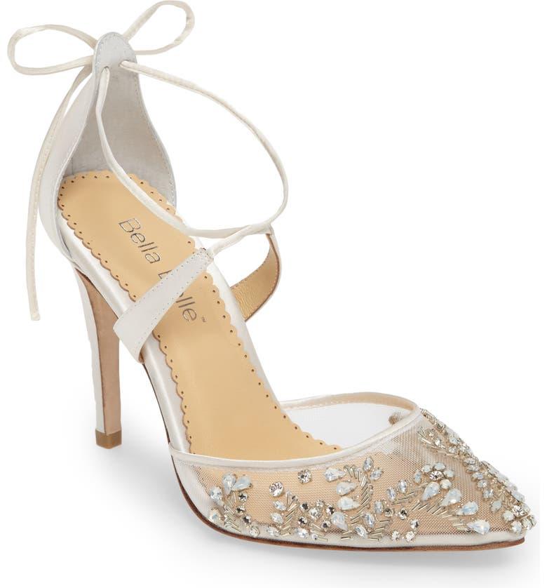 BELLA BELLE Florence Embellished Bow Sandal, Main, color, IVORY FABRIC