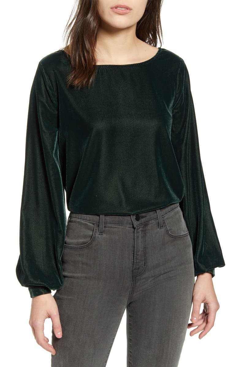 CUPCAKES AND CASHMERE Taddie Long Sleeve Velvet Top, Main, color, DEEP FOREST