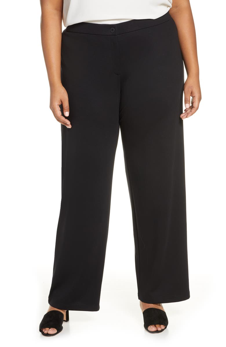 EILEEN FISHER Ankle Straight Leg Pants, Main, color, BLACK