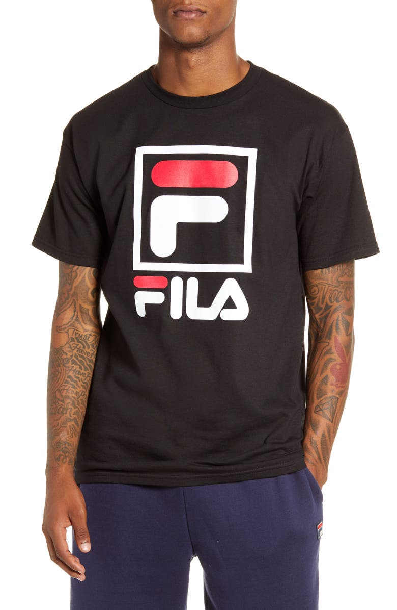 FILA Stacked Logo T-Shirt, Main, color, BLACK/ WHITE/ CHINESE RED