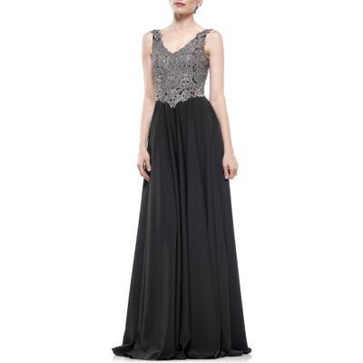 Marsoni Lace & Faille A-Line Gown, Black