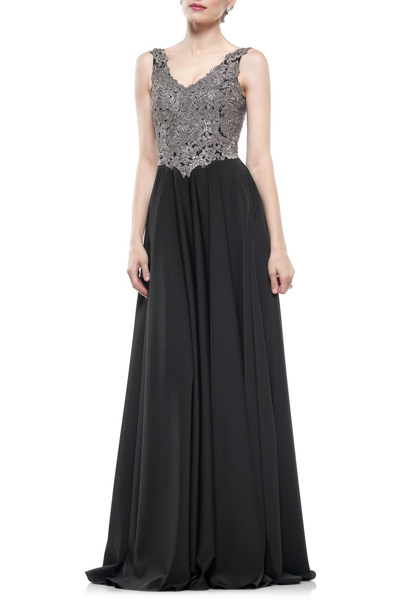MARSONI Lace & Faille A-Line Gown, Main, color, BLACK/ SILVER