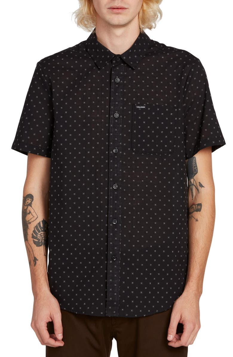 VOLCOM Newmark Patterned Woven Shirt, Main, color, BLACK
