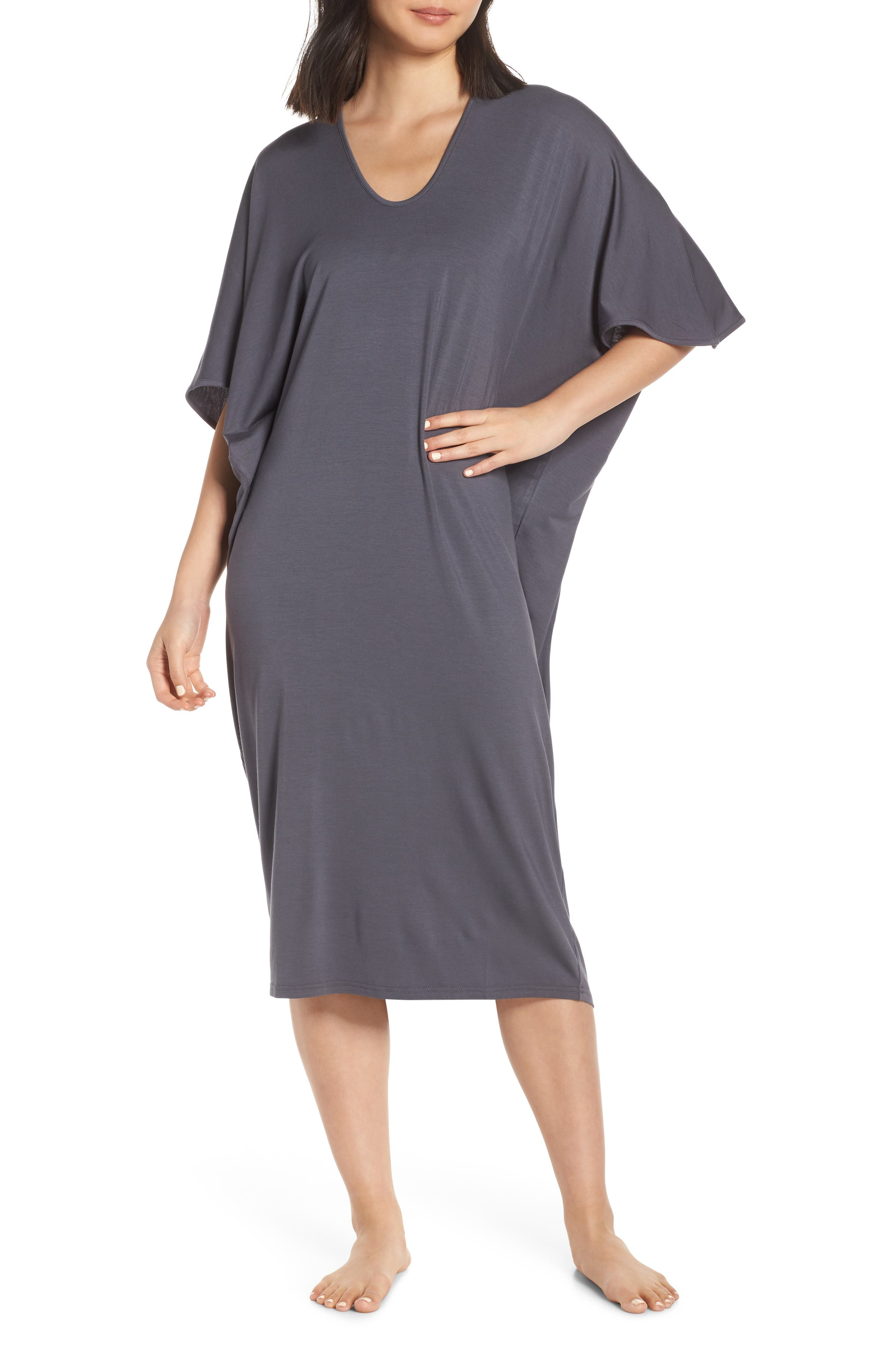 Luxe Jersey Nightgown, Main, color, GRAPHITE