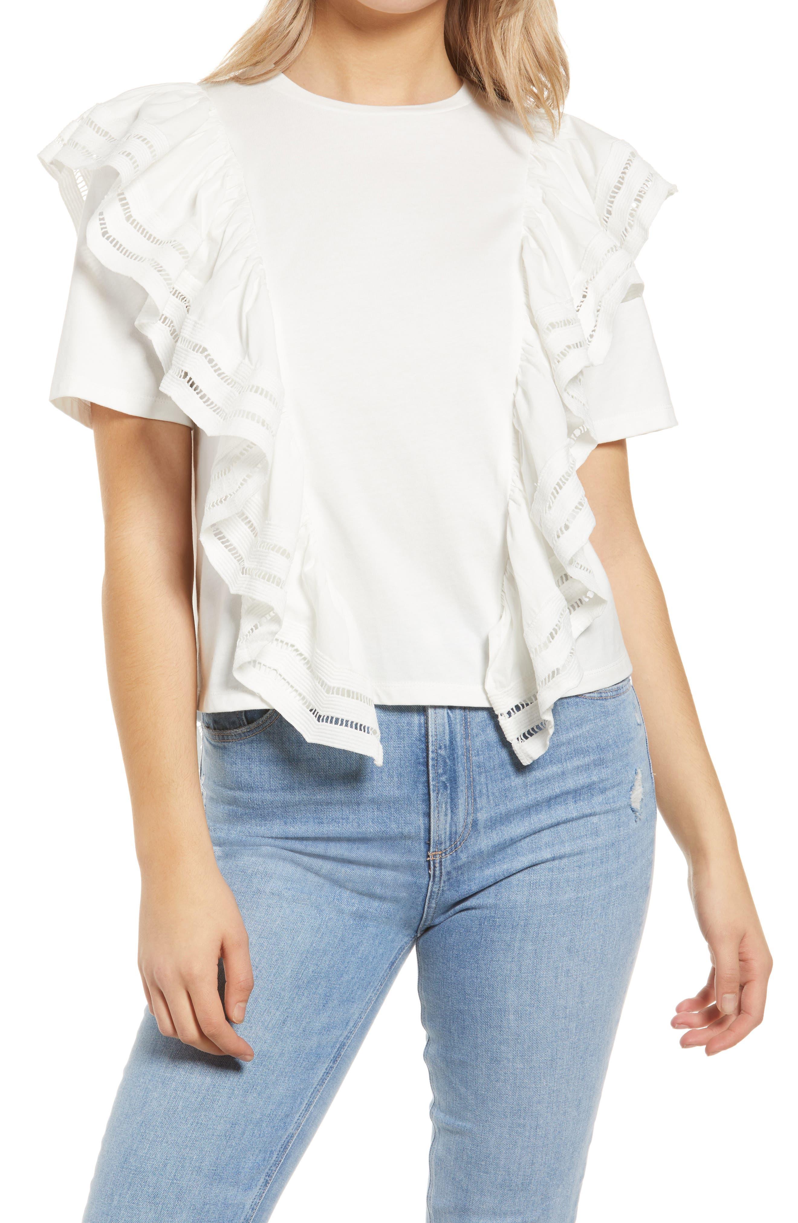 Lace Trim Ruffle Detail Cotton Top