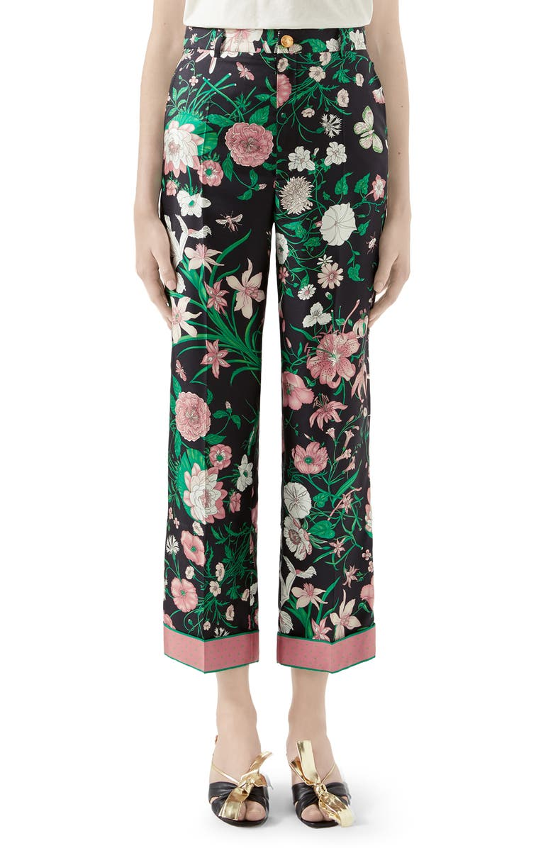 GUCCI Flora Print Silk Twill Crop Pants, Main, color, BLACK/ PINK PRINT