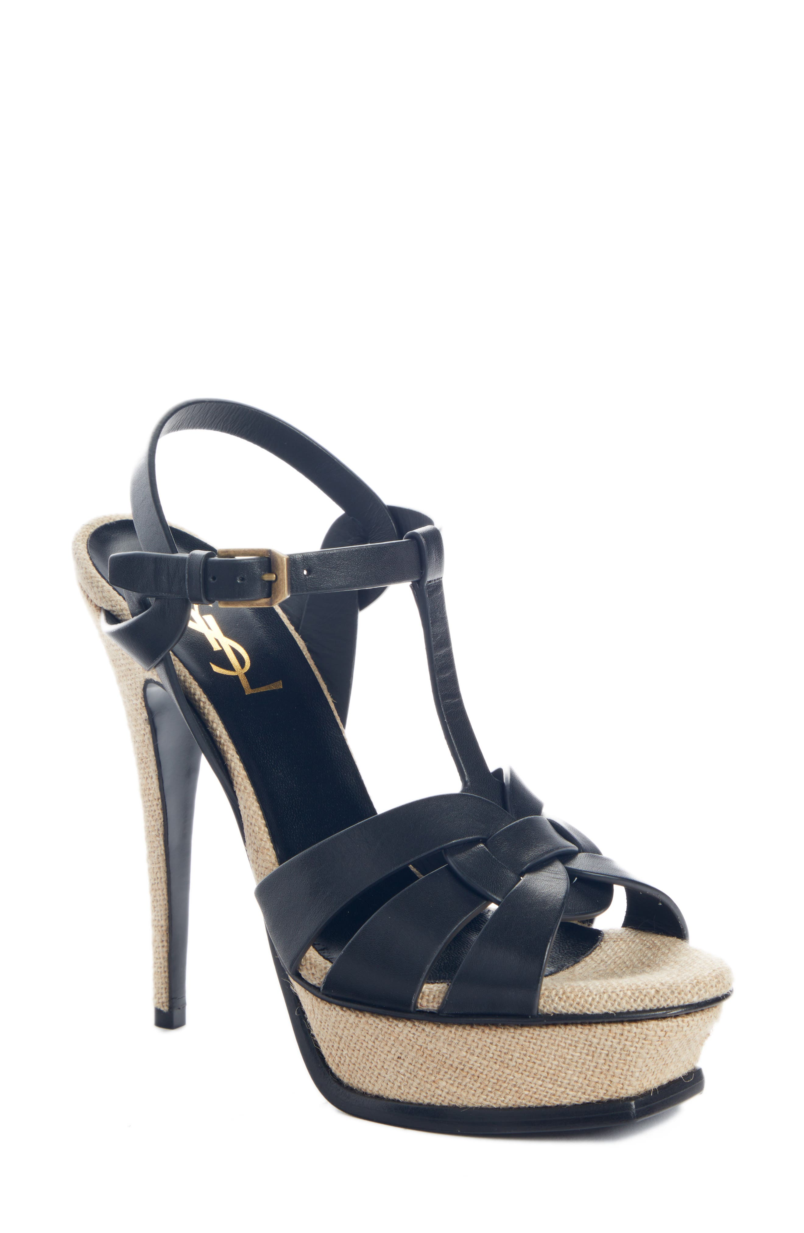 A medallion of intersecting straps crowns the toe of a sandal that pairs towering stature with rustic, unbleached burlap wrapping it from platform to stiletto. Style Name: Saint Laurent Tribute T-Strap Platform Sandal (Women). Style Number: 5952972. Available in stores.