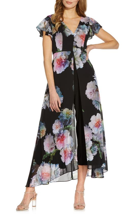 Adrianna Papell FLORAL OVERLAY MAXI ROMPER