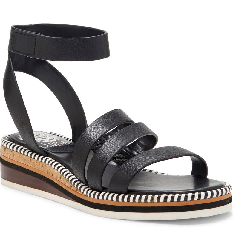 VINCE CAMUTO Margreta Ankle Strap Sandal, Main, color, BLACK LEATHER