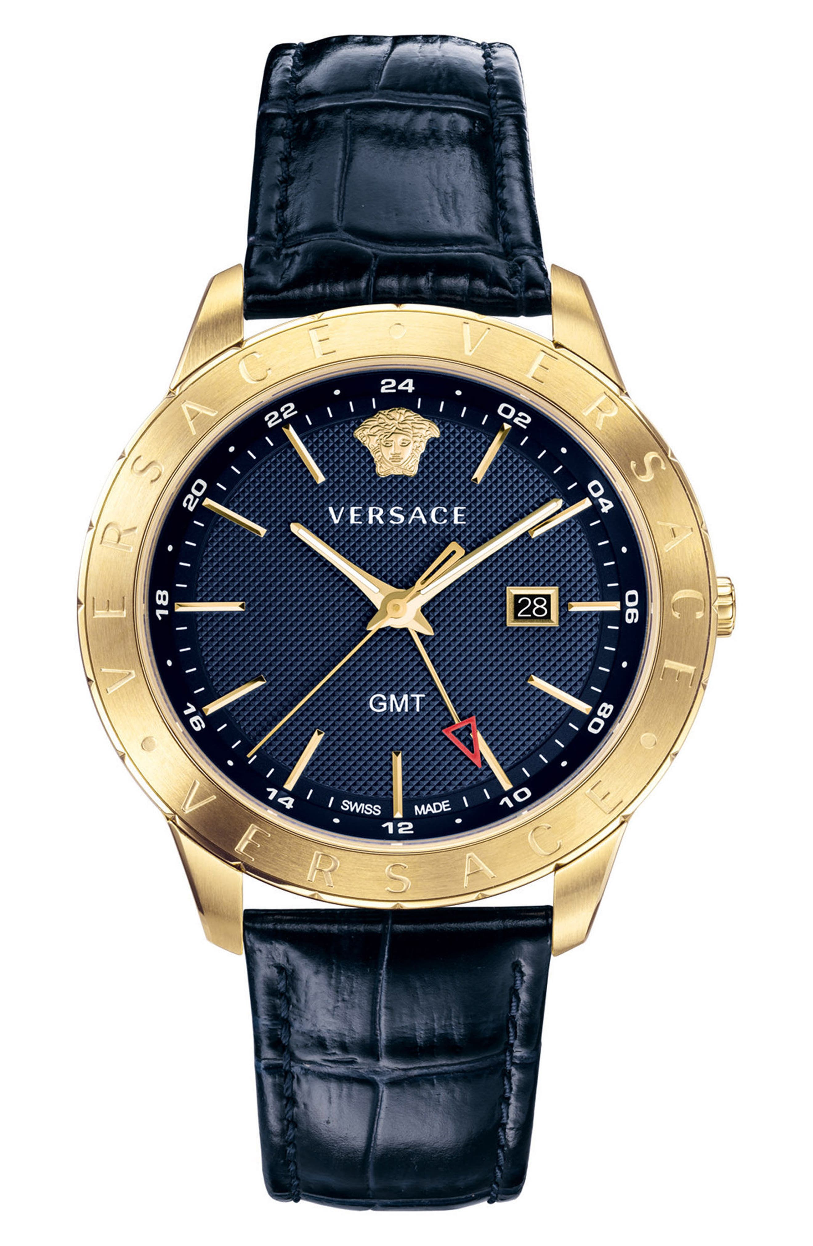 Univers Leather Strap Watch, 43mm, Main, color, BLUE/ GOLD