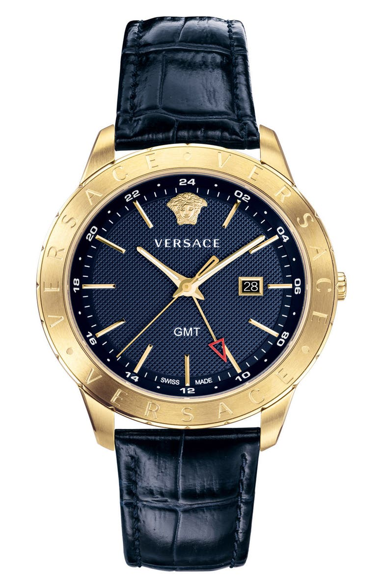 VERSACE Univers Leather Strap Watch, 43mm, Main, color, BLUE/ GOLD