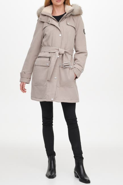 Image of DKNY Belted Faux Fur Trim Hood Anorak