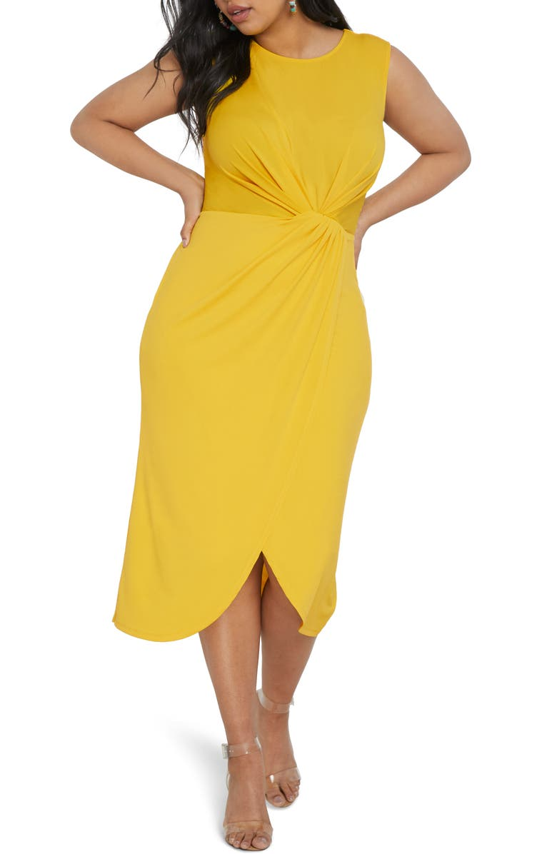 ELOQUII Drape Front Midi Dress (Plus Size)   Nordstrom