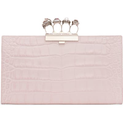 Alexander Mcqueen Four-Ring Knuckle Clasp Croc Embossed Leather Clutch - Pink