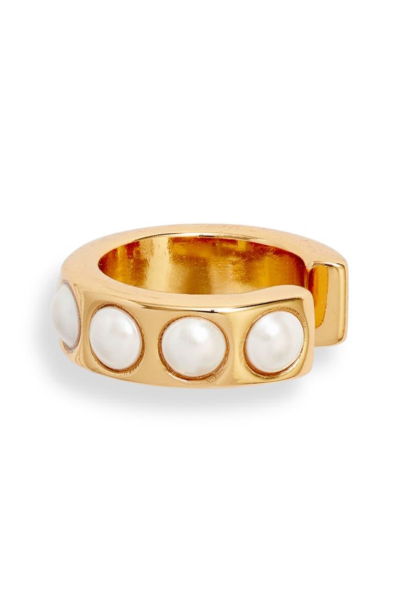 ADINA'S JEWELS Imitation Pearl Ear Cuff, Main, color, GOLD