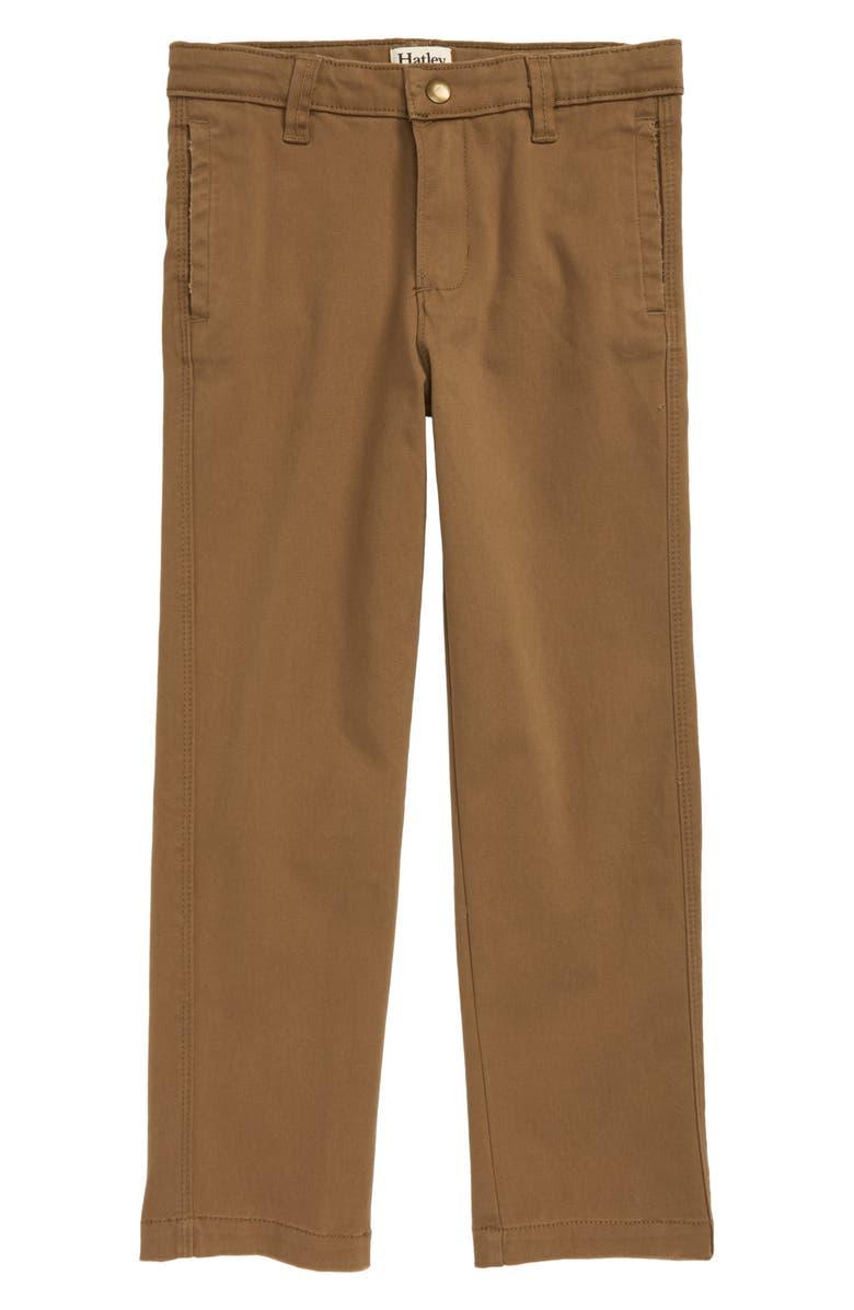 HATLEY Twill Khaki Pants, Main, color, BROWN