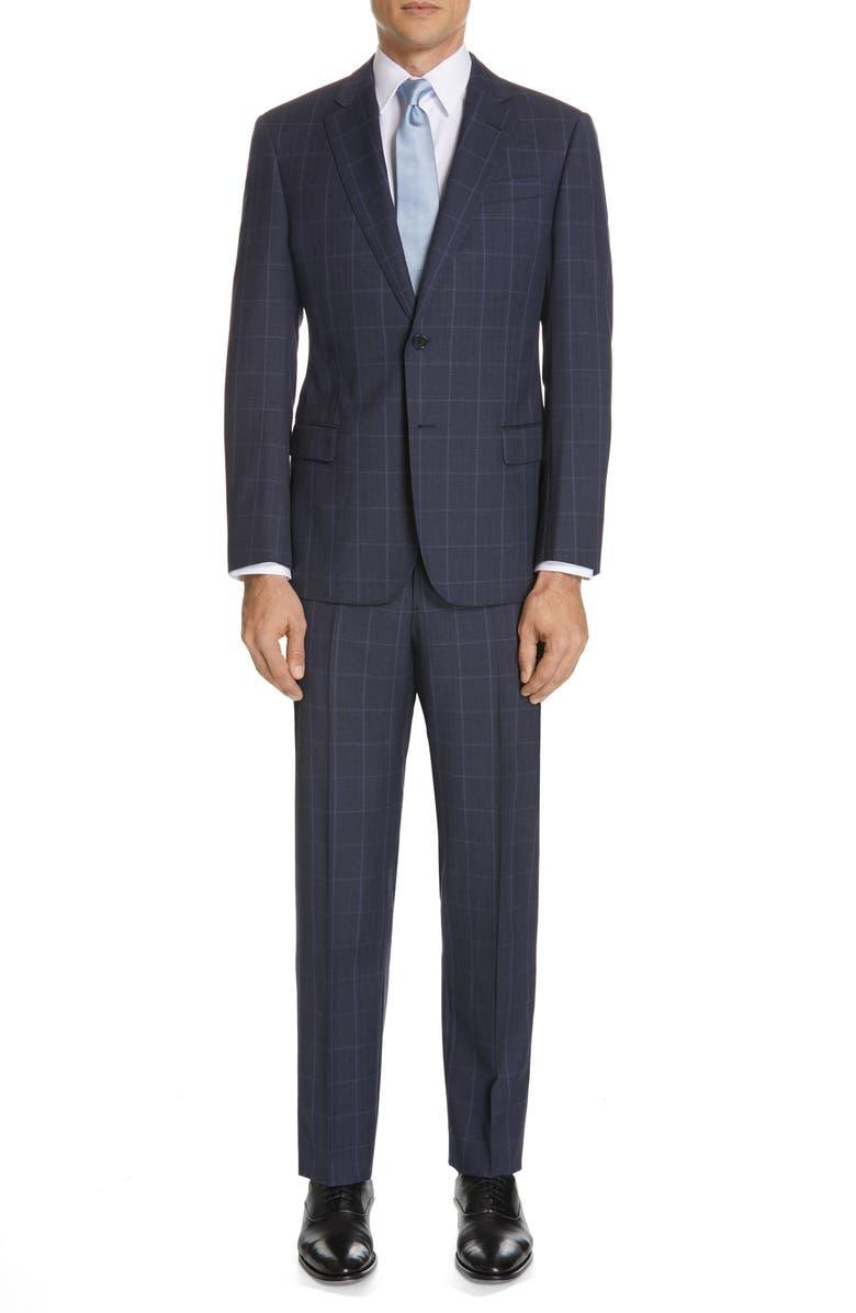 EMPORIO ARMANI Trim Fit Windowpane Wool Suit, Main, color, 035