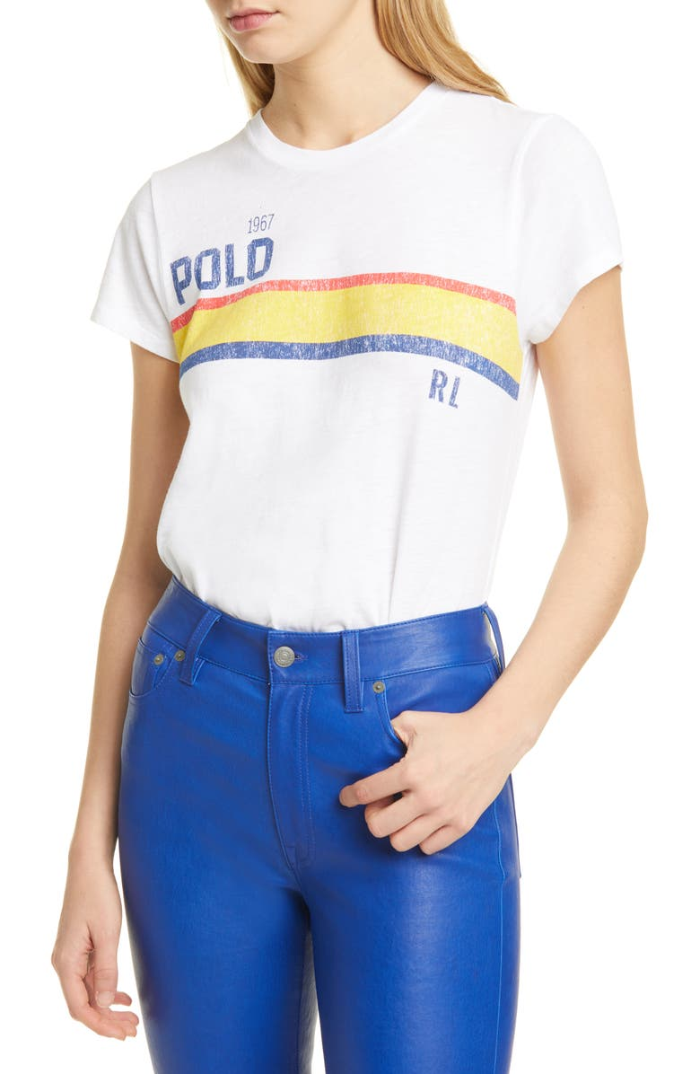 POLO RALPH LAUREN Rainbow Stripe Logo Cotton Tee, Main, color, WHITE