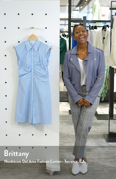 Ferris Ruched Stretch Poplin Shirtdress, sales video thumbnail