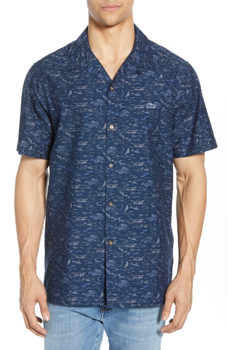 LACOSTE Regular Fit Print Camp Shirt, Main, color, RINSE