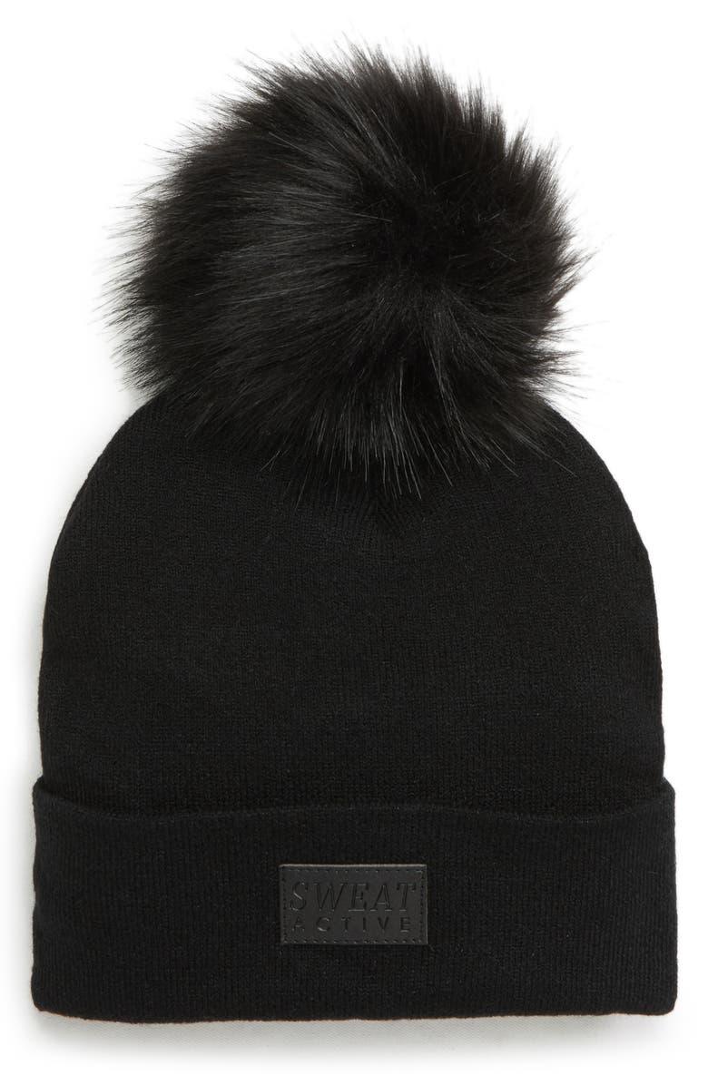 SWEAT ACTIVE Faux Fur Pom Beanie, Main, color, BLACK
