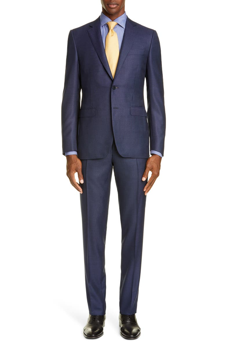CANALI Milano Trim Fit Bird's Eye Wool Suit, Main, color, BLUE