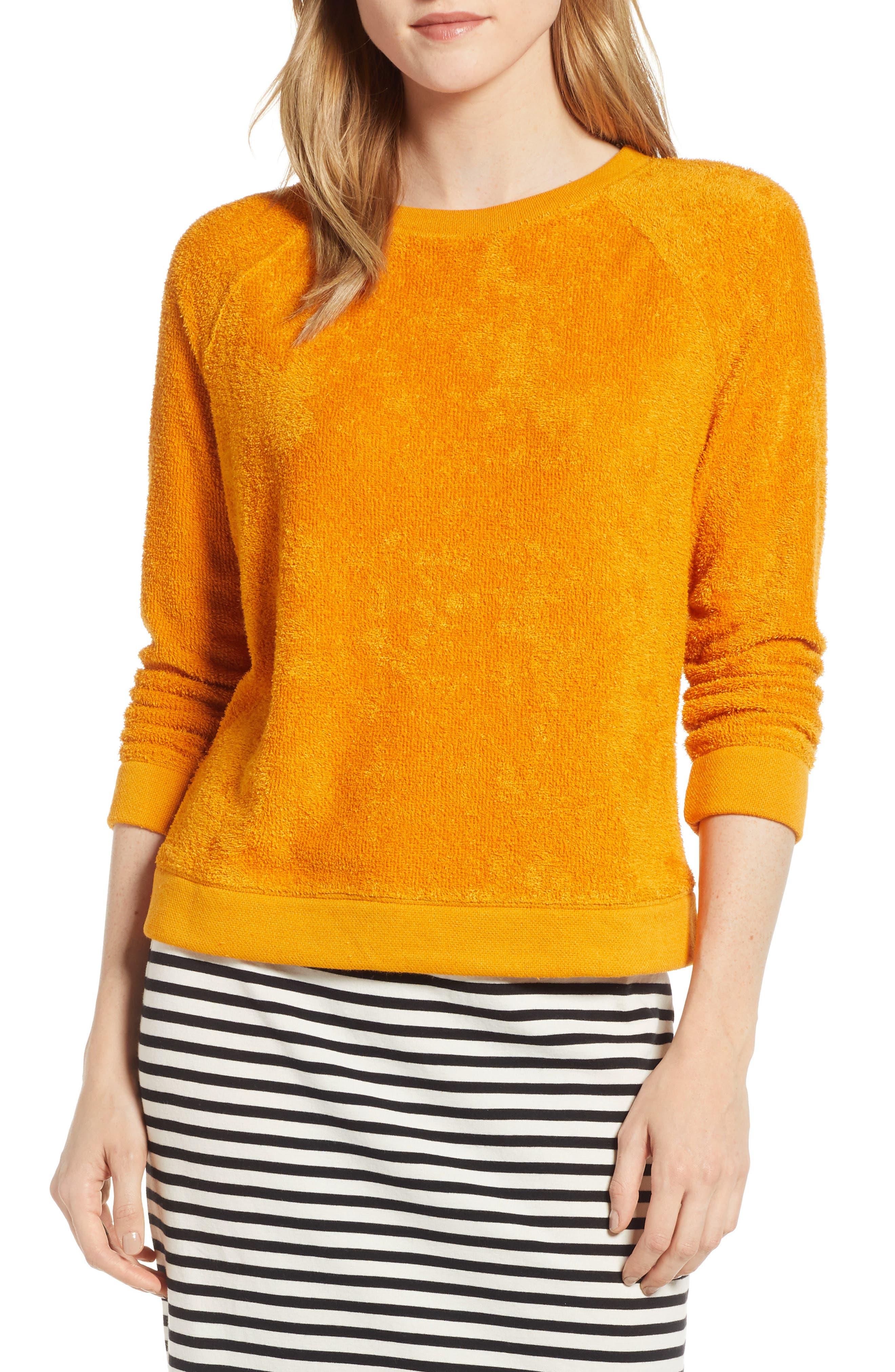 Marc Loop Terry Sweatshirt, Main, color, BRIGHT SUNSET