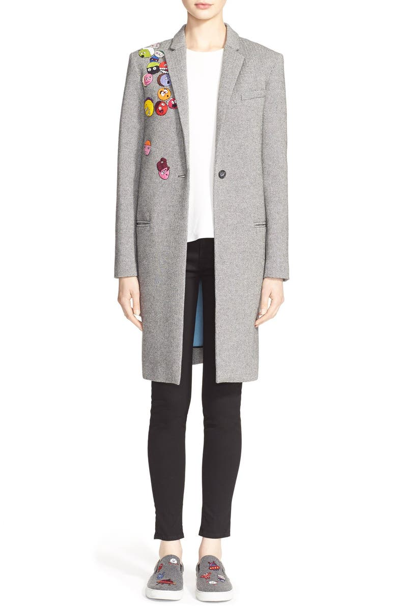 MIRA MIKATI 'Multi-Heads' Patch Cotton & Wool Coat, Main, color, 060