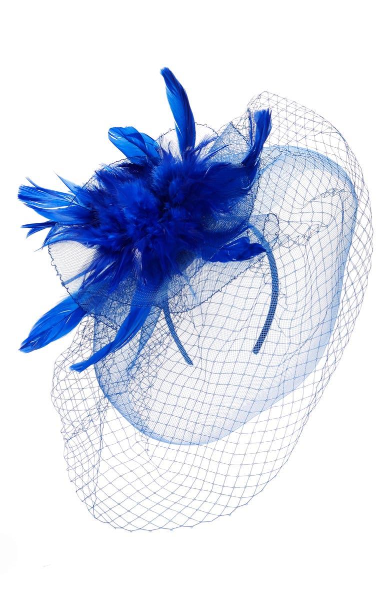 TASHA Feather Bouquet Fascinator Headband, Main, color, COBALT