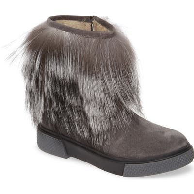 Sheridan Mia Tomtom Genuine Fox Fur Bootie - Grey