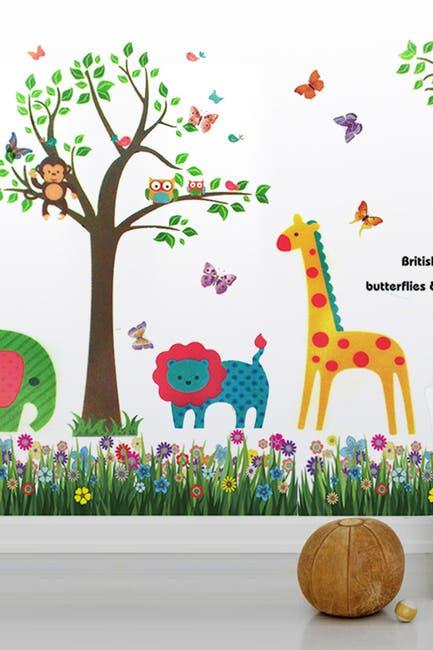 Image of WalPlus Colorful Butterflies, Grass & Animals Wall Sticker Set