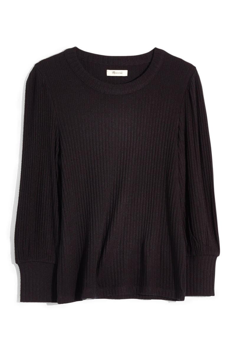 MADEWELL Brushed Rib Pleat Sleeve Top, Main, color, TRUE BLACK