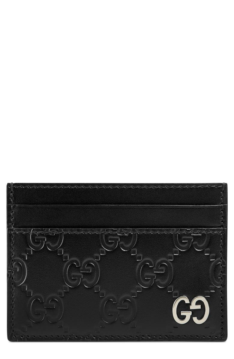 GUCCI Dorian Leather Card Case, Main, color, BLACK