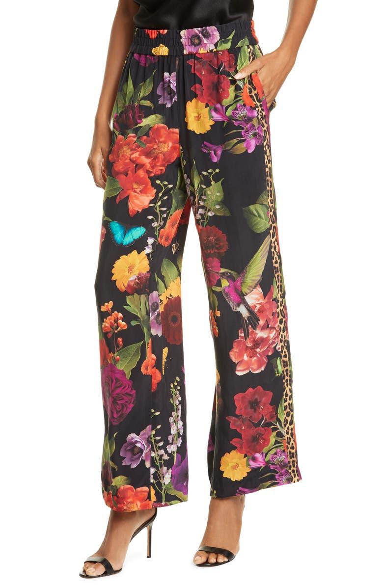 ALICE + OLIVIA Benny Floral Smock Waist Pants, Main, color, LEOPARD STRIPED GARDEN FLORAL