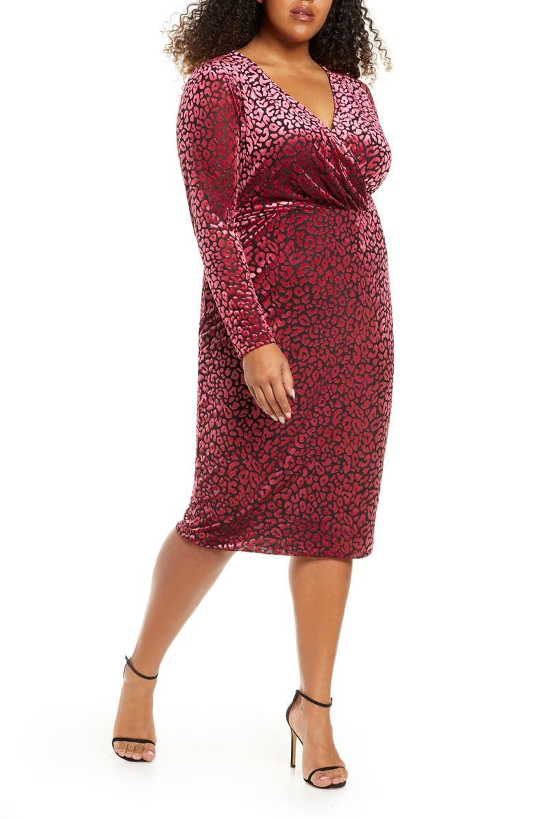 RACHEL RACHEL ROY Willa Leopard Burnout Long Sleeve Dress, Main, color, WILD PINK