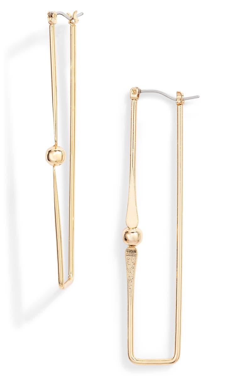 ETTIKA Rectangular Drop Earrings, Main, color, GOLD