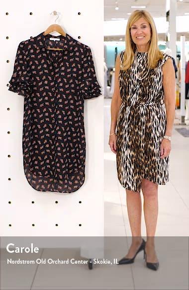 Floral Ruffle Sleeve Silk Shirtdress, sales video thumbnail